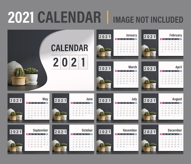 2021 calendar template. calendar modern dark concept design. set of 12 months 2021 pages