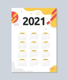 抽象的なフラットスタイルの2021年カレンダーテンプレート