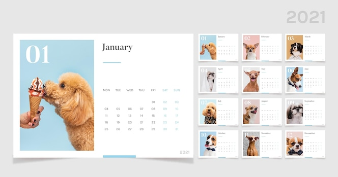 2021 calendar template with cute animals