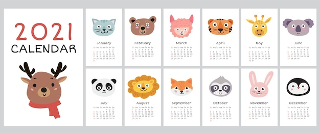 2021 calendar with cute animals. yearly planner calendar with all months.