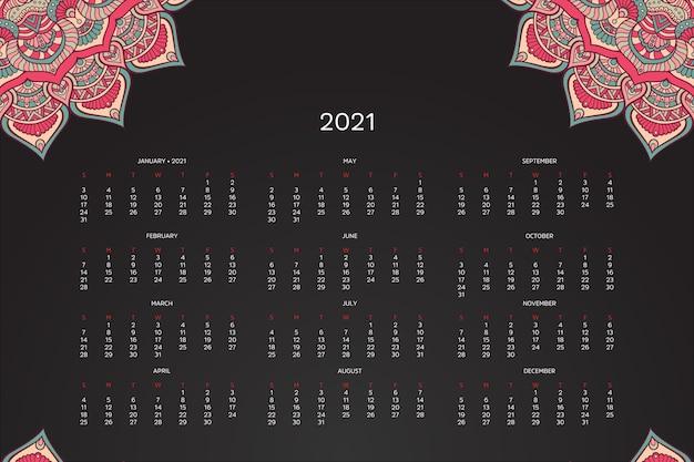 2021 calendar with oriental mandala