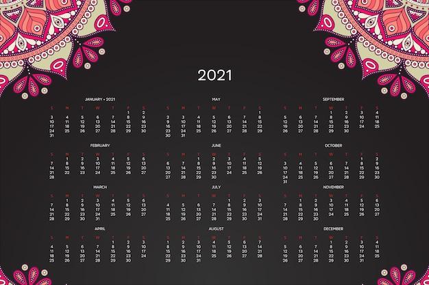 Calendario 2021 con mandala orientale