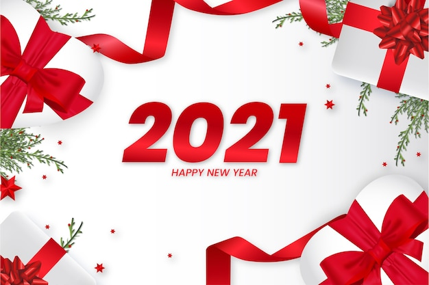 2021 card with realistic christmas decoration background