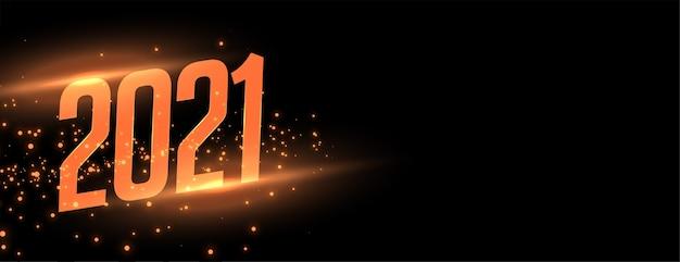Banner scintillante di celebrazione del nuovo anno 2021 con effetto luce