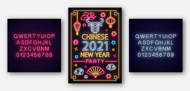 2021 chinese new year of white bull poster in neon style with alphabet. celebrate invitation of asian lunar new year