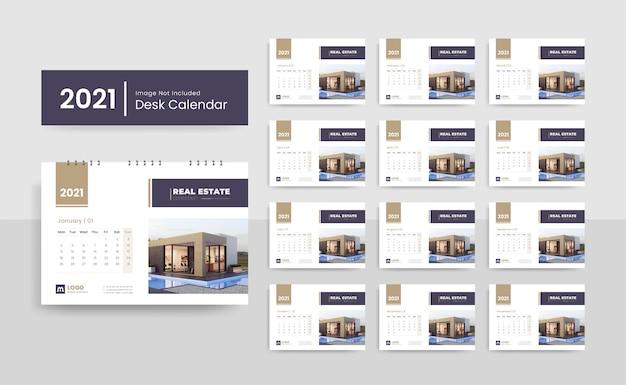 Шаблон креативного настольного календаря на 2021 год для агентства недвижимости