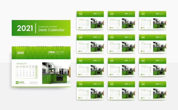 2021 creative desk calendar template for real estate company with green color