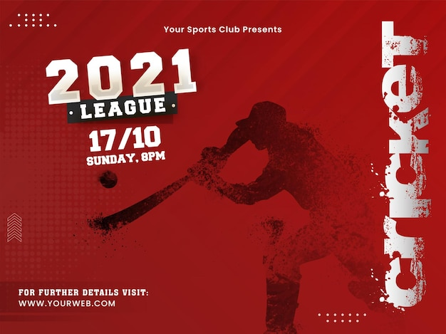 2021 cricket league concept with dispersion effect batsman player on red halftone background.