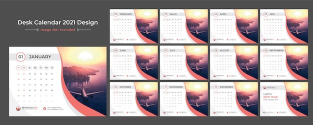2021 desk calendar, date planner Premium Vector