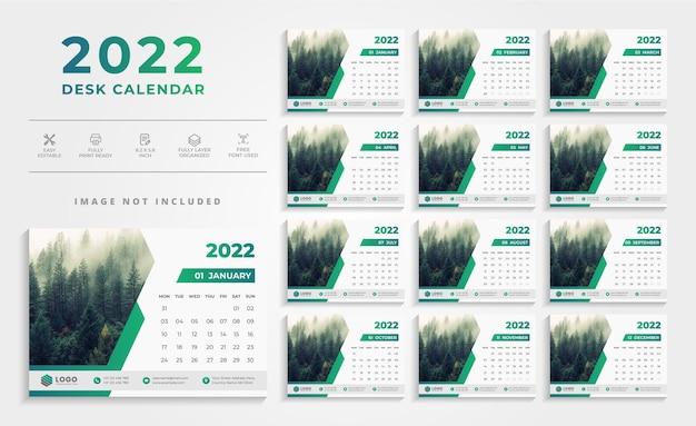 2021 desk calendar design template with green color