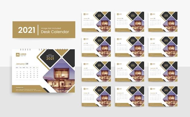 創造的なデザインを持つ企業の企業のための2021年の卓上カレンダーテンプレート