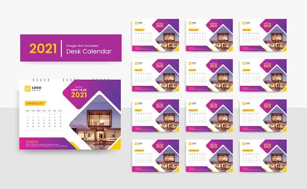 Шаблон настольного календаря на 2021 год для корпоративного бизнеса с креативным дизайном