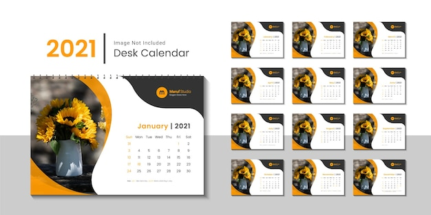 2021 desk calendar template with yellow color