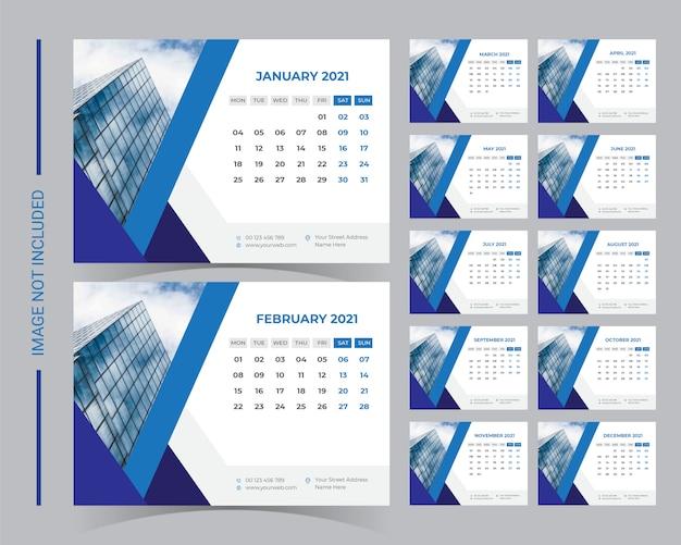 2021 desk calendar template