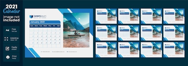 2021 desk calendar with blue layout
