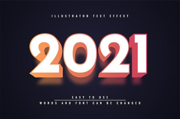 2021 - дизайн с редактируемым текстовым эффектом