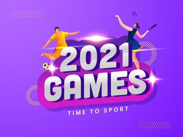 2021 games time to sport concept with cartoon footballer