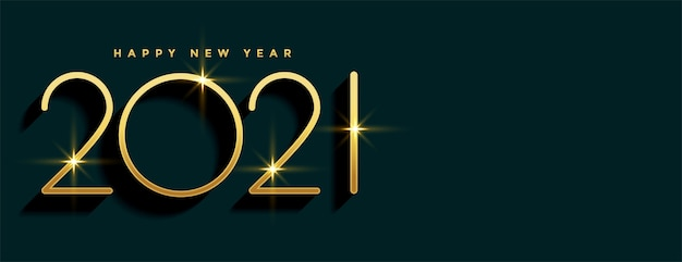 2021 golden happy new year banner with text space
