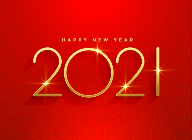 2021 golden happy new year red background design