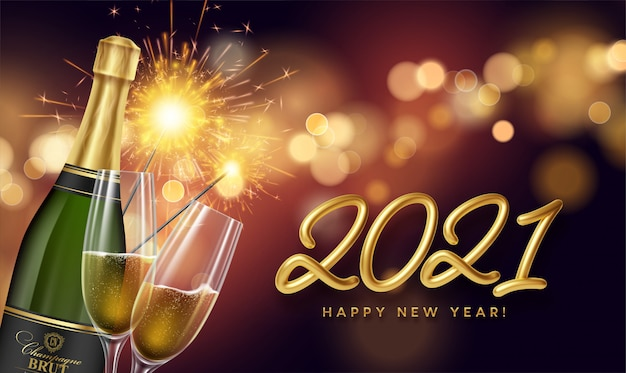 2021 golden lettering new year background with a bottle and glasses of champagne and glowing bokeh light