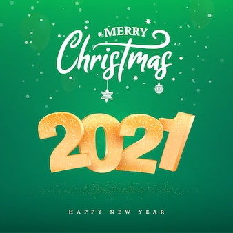 2021 golden number happy new year celebration on green background. merry christmas celebrate vector