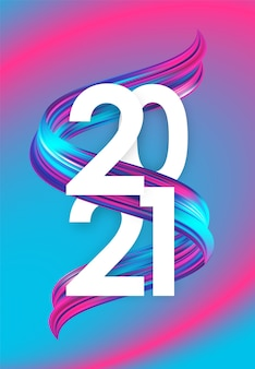 2021 greeting card with neon colored twisted acrylic paint stroke shape. trendy design. happy new year