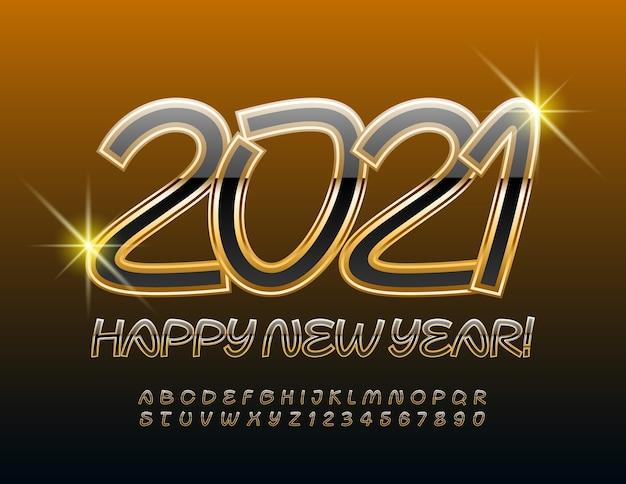 2021 새해 복 많이 받으세요 예술적 검정과 금색 글꼴 세련된 필기 알파벳 문자와 숫자 세트