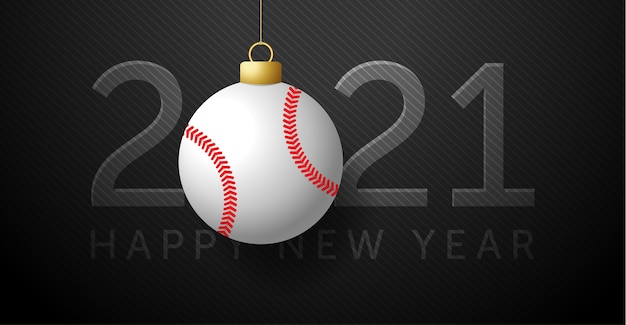 2021明けましておめでとう。野球ボールの背景。