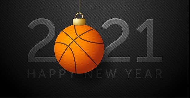 2021明けましておめでとう。バスケットボールのボールの背景。
