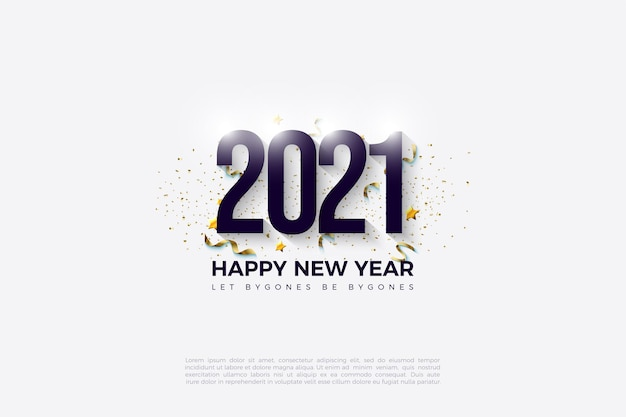 黒い数字と金色の斑点のある2021年明けましておめでとうございます