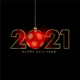 2021 happy new year background with christmas ball
