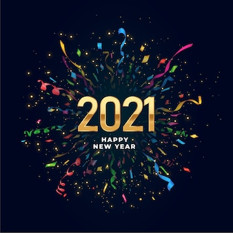 2021 happy new year background with confetti burst