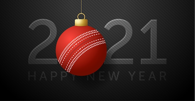 2021 happy new year. background with a cricket ball.