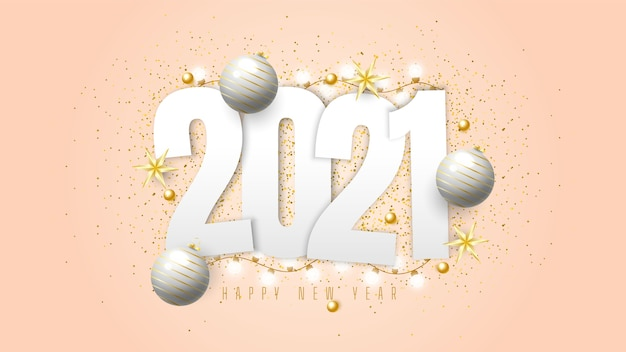 2021 happy new year background with gift balls, confetti, and lights