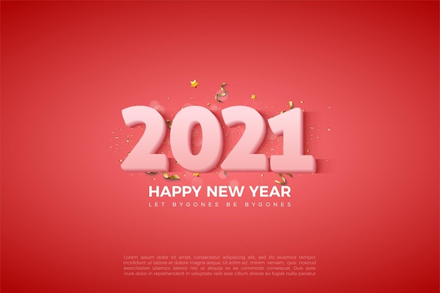 2021 happy new year background with milky white numbers on a red background