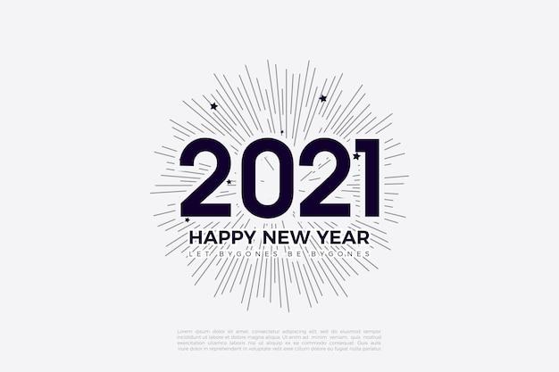 숫자와 줄무늬 배경 일러스트와 함께 2021 새해 복 많이 받으세요 배경
