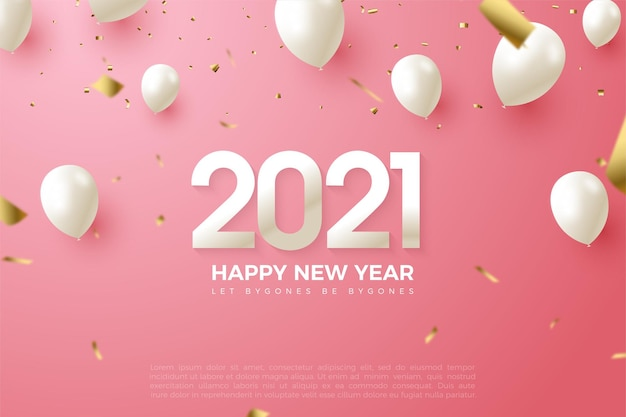 2021 happy new year background with numbers and balloons in white