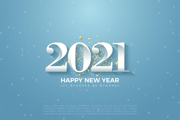 2021 happy new year background with numbers illustration on blue sky