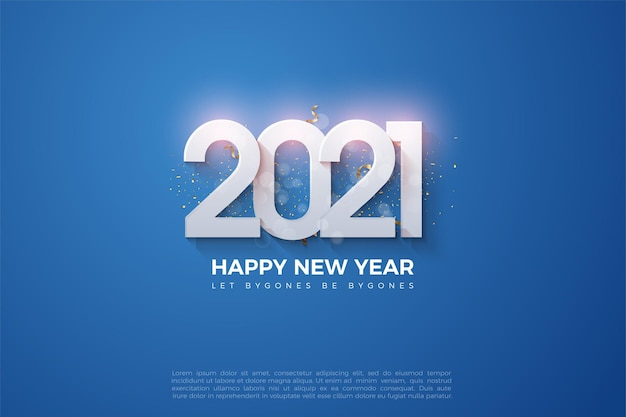 2021 happy new year background with shiny numbers on dark blue background