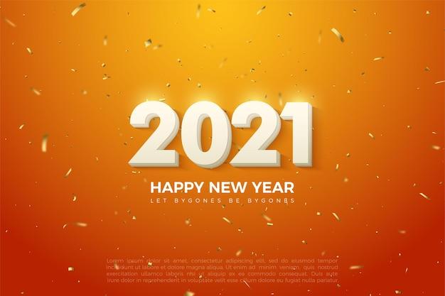 단색 흰색 숫자와 금 구슬 뿌린 2021 새해 복 많이 받으세요 배경