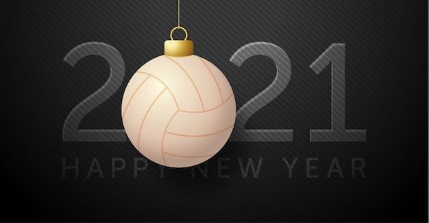 2021 happy new year. background with a volley ball.