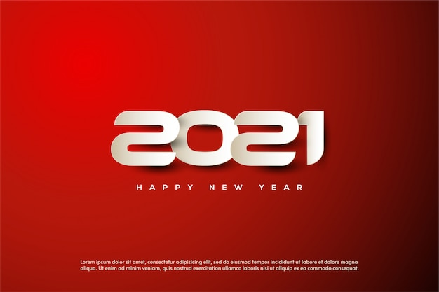 2021 happy new year background with white paper numbers.