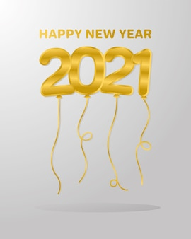 2021 새해 복 많이 받으세요 풍선, 환영 축하 및 인사