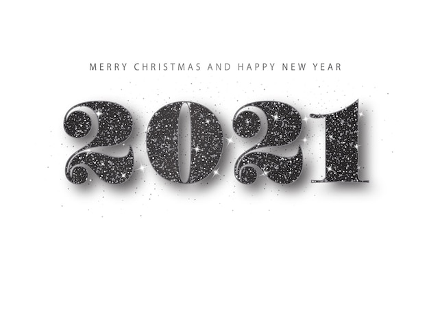 2021 happy new year. black glitter number. holiday greeting banner in minimal style.