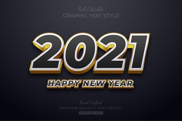 С новым годом 2021 черный золотой редактируемый текстовый эффект стиль шрифта