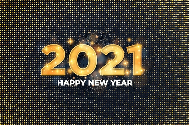 2021 happy new year card with luxury golden text effect