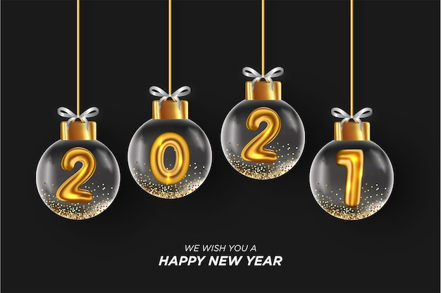 2021 happy new year card con realistica palla di natale sfondo nero