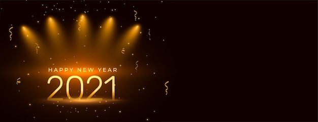 2021 happy new year celebration banner design with confetti