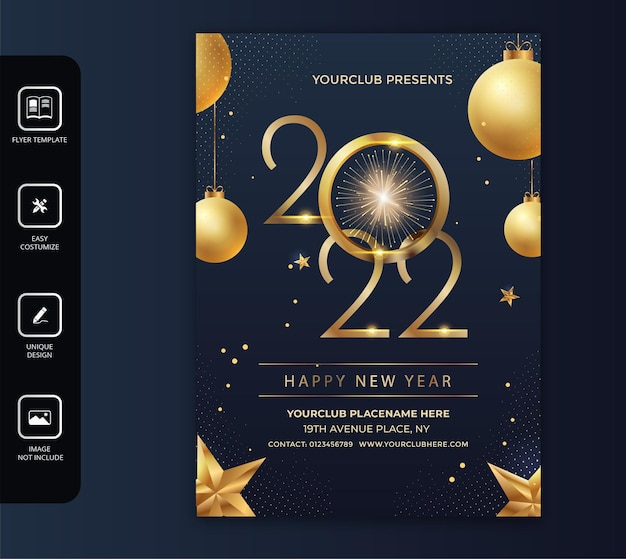 2021 happy new year and celebration party flyer