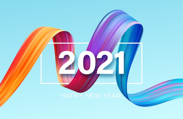 2021 happy new year color flow background.